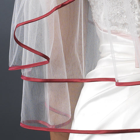 Bridal Wedding Veil 655 Ivory - Burgundy Satin Ribbon Edge (24