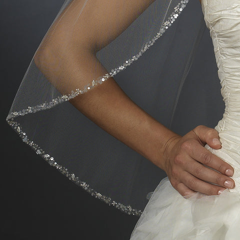 Beaded Single Layer Elbow Length Bridal Wedding Veil (30