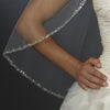 "Beaded Single Layer Elbow Length Bridal Wedding Veil (30"" long x 71"" wide) White or Ivory Bridal Wedding Veil 1523"