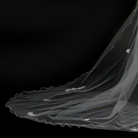 Single Layer Floral Beaded Cathedral Bridal Wedding Veil 153
