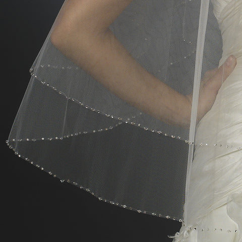 Bridal Wedding Veil 2824 White - Fingertip Swarovski Crystal & Rhinestone Edge (30