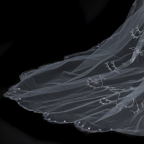 Single White Tier Cathedral Length Bridal Wedding Veil Accented in Flower Embroidery & Swarovski Crystals 67