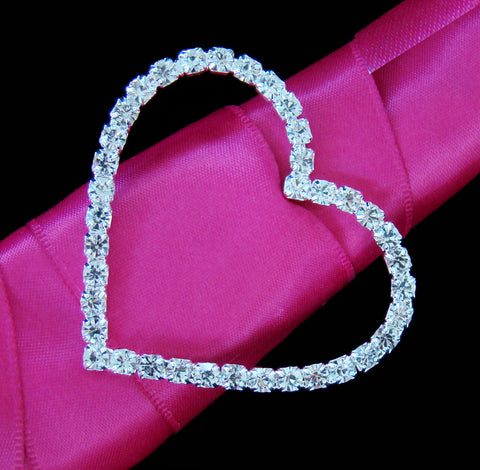 Crystal Heart Buckle Accent for Bridal Wedding Bouquet Handle 2154