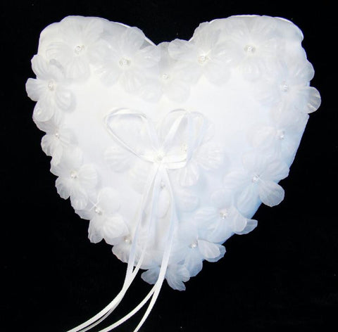 Floral Heart Bridal Wedding Ring Bearer Pillow RP Heart