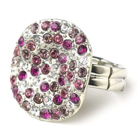 Red Circular Fuchsia and Clear Rhinestone Bridal Wedding Ring 19