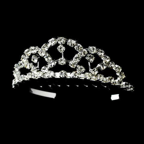 * Silver Crystal Flower Girl's Bridal Wedding Tiara HPC 687