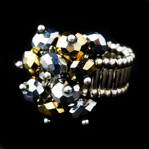 Silver Stretch Bridal Wedding Ring with Gray and Gold Shadow Crystals 473