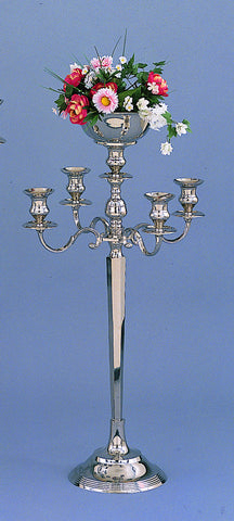 "5 Light Candelabra with Floral Bowl 34"" Tall"