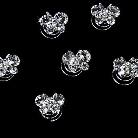 12 Precious Silver Clear Crystal Butterfly Bridal Wedding Twist Ins 0120