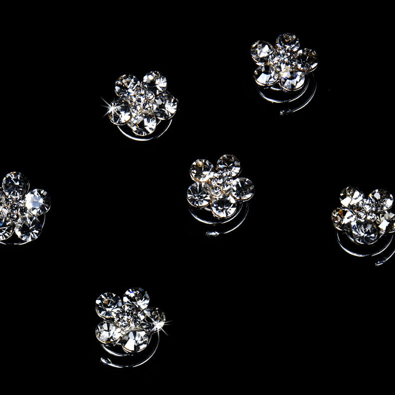 12 Silver Clear Rhinestone Flower Bridal Wedding Twist Ins 0003