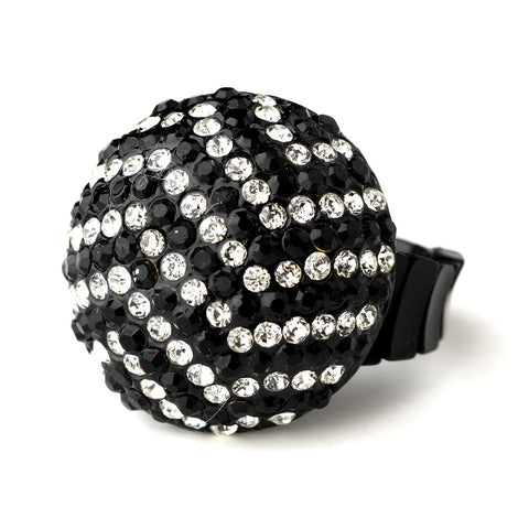 Black and Silver Clear Pave Ball Bridal Wedding Ring 951