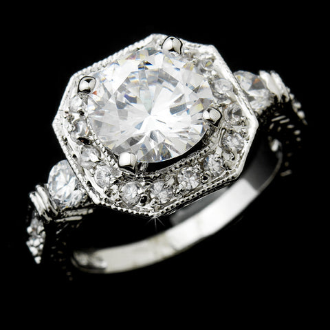 Gorgeous Antique Silver Clear Cubic Zirconia Bridal Wedding Ring 6702