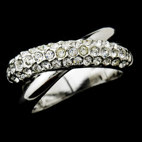 Radiant Silver Clear Crystal Criss-Cross Bridal Wedding Ring 7003