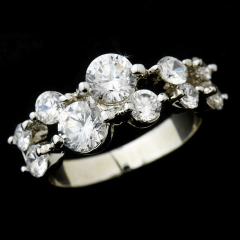 Radiant Silver Clear Round CZ Bridal Wedding Ring 9046