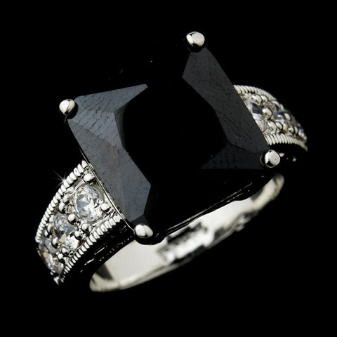 Striking Silver Black Princess Cut CZ Bridal Wedding Ring 2080