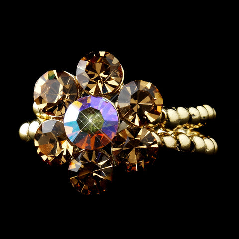 Gold Topaz AB Rhinestone Flower Bridal Wedding Ring 17