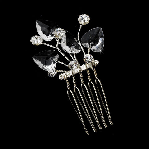 * Precious Silver Clear Heart & Flower Crystal Bridal Wedding Hair Pin 111