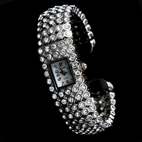 Rhinestone Crystal Bridal Wedding Watch 23 Silver