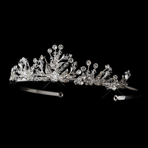 Silver Clear Rhinestone & Swarovski Crystal Bead Bridal Wedding Tiara Headpiece 4144