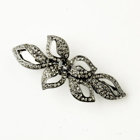 Hematite Smoked Crystal & Rhinestone Leaf Bridal Wedding Hair Barrette 9237