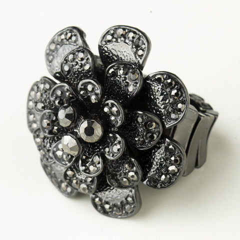 Hematite Smoked Crystal Flower Bridal Wedding Ring 9238