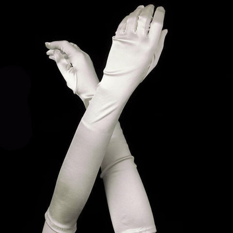 Light Ivory Elbow Formal Bridal Wedding Satin Gloves