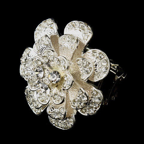Silver Clear Crystal Flower Bridal Wedding Ring 9238