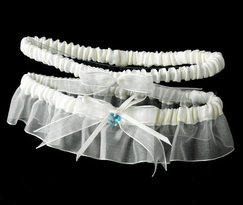 Lt Blue Heart Crystal Bridal Wedding Garter Something Blue 205