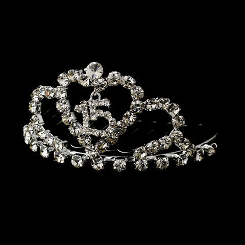 * Miniature Sweet 15 Rhinestone Covered Bridal Wedding Tiara Bridal Wedding Hair Comb (Silver or Gold) 713