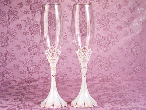 Pink Princess Wedding Toasting Flutes FL 457
