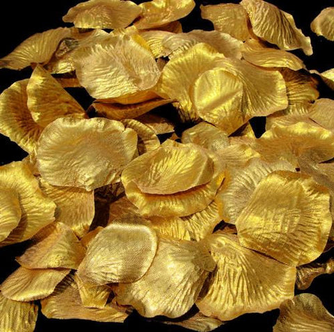 100 Gold Bridal Wedding & Formal Silk Rose Petals