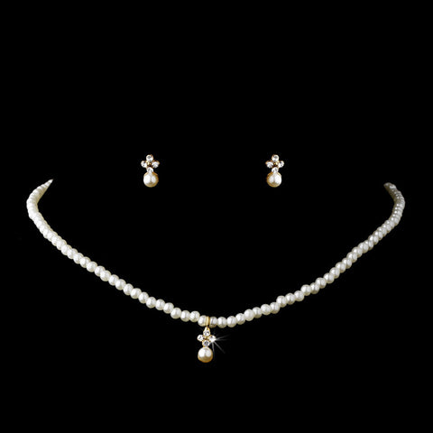 Children's Bridal Wedding Necklace Earring Set C 4814 Gold Ivory