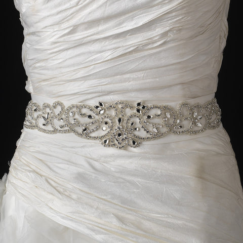 Rhinestone & Glass Bead Swirl Bridal Wedding Belt 292