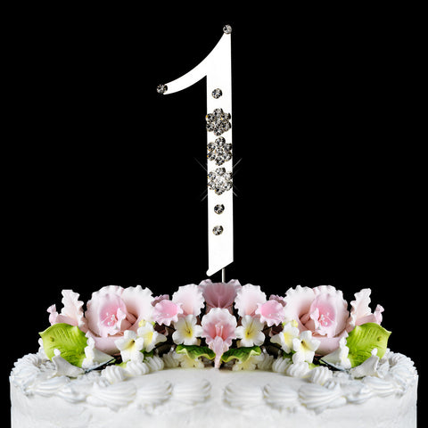 French Flower ~ Individual Number Crystal Bridal Wedding Cake Toppers
