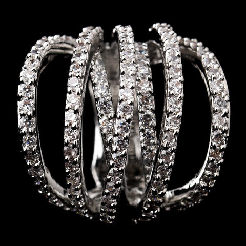 Antique Silver Rhodium Plated Bridal Wedding Ring 6156 with Pave CZ Crystal Accent