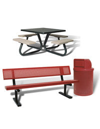 Heavy-Duty Picnic Tables & Trash Receptacles