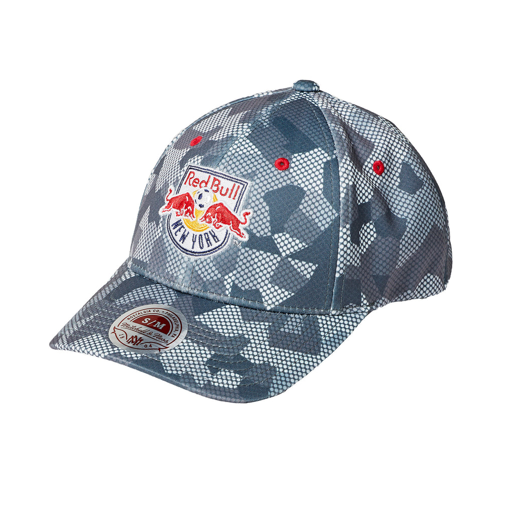 New York Red Bulls Mitchell & Ness Carbon Camo Flexfit Slouch Fitted Hat