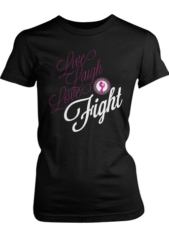 Live Laugh Love Fight women's t-shirt (black)