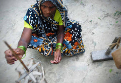 Indian Artisans Prepare Silk Thread for our Brocade Fabric