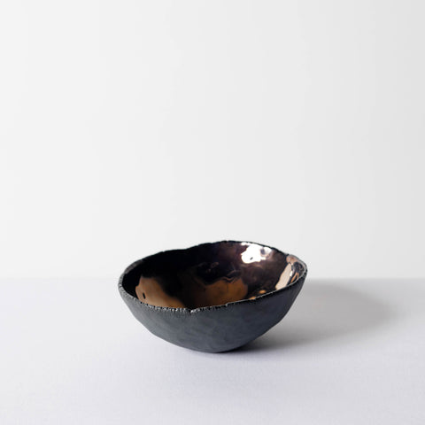 Hand-Sculpted Bronze/Black Ceramic Bowl