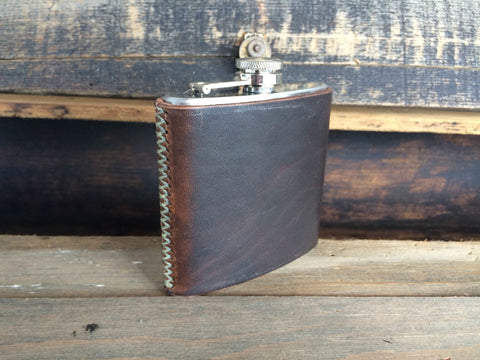 Leather Wrapped, Hand-Stitched Flask