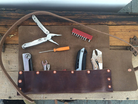 Hand Riveted Leather Tool Roll