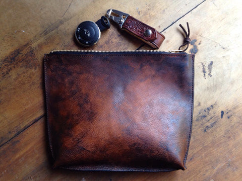 "Distressed Leather ""Pouch"" Clutch - iPad Mini Holder"