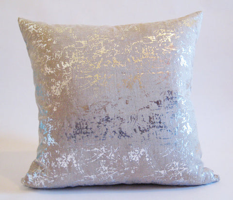 Silver Metallic Spatter Pillow - Square