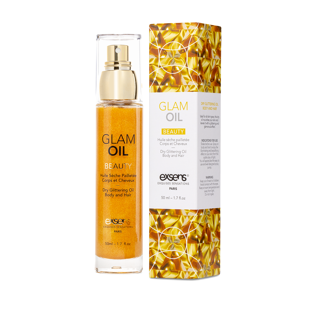Exsens glam oil shimmering for body and hair sweet almond oil