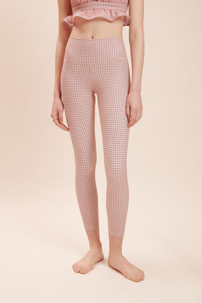 Pink Polka Chic Legging: High-Rise & Lux + Suede-Feel Fabrics - Sugarmat