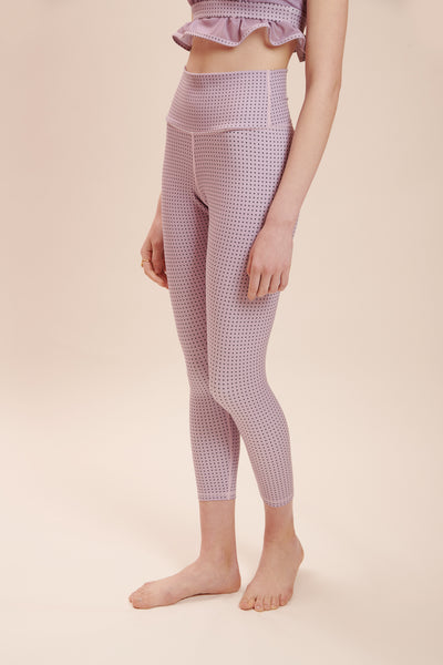 Purple Polka Chic Legging: High-Rise & Lux + Suede-Feel Fabrics - Sugarmat