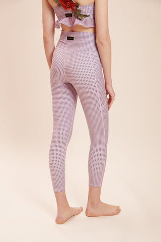 Purple Polka Chic Legging: High-Rise & Lux + Suede-Feel Fabrics