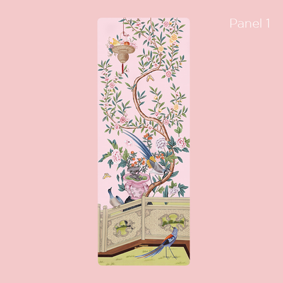 Pink Pampas panel 1 - Suede Yoga Mat (3MM) - Sugarmat