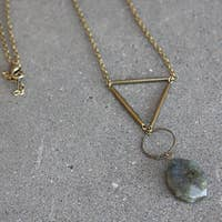 GEOMETRIC BRASS LABRADORITE NECKLACE